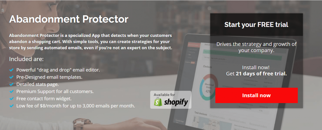 Abandonment Protector is a great ecommerce marketing tool