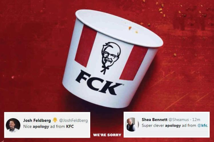 KFC's viral ecommerce marketing idea apology for chicken shortage