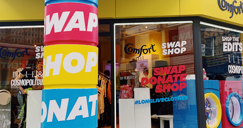Ecommerce marketing ideas include raising awareness to a certain cause such as Comfort's Swap and Shop