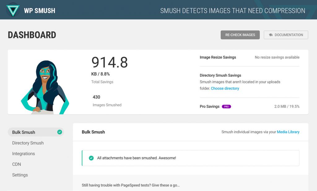 ecommerce marketing tools using WP Smush It dashboard