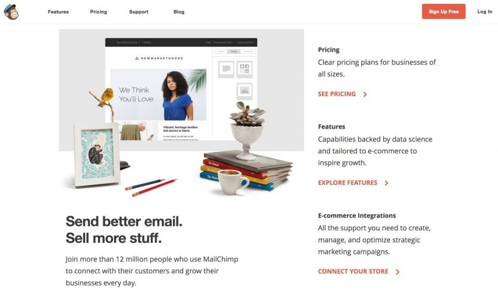 Mailchimp offers numerous templates that can help marketing funnel conversion