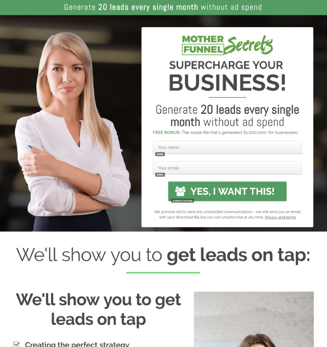 This image is an example of a squeeze funnel capture popup for marketing funnel model